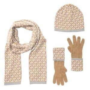 NWT Michael Kors Hat Scarf Gloves Box Winter Gift